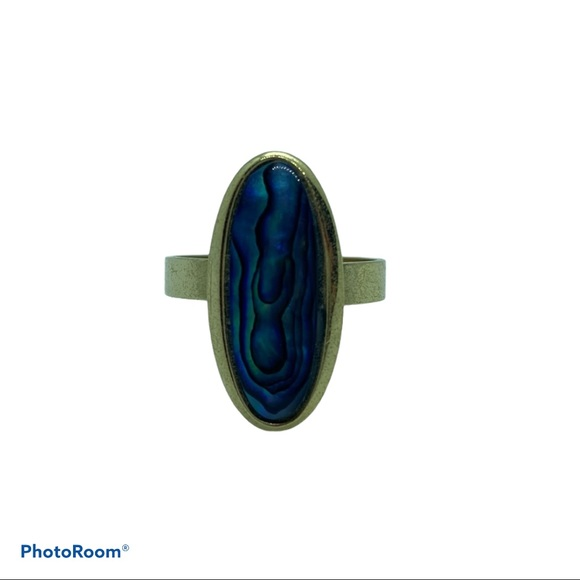 Gold Long Opaque Purple Blue Ring 9 1/4